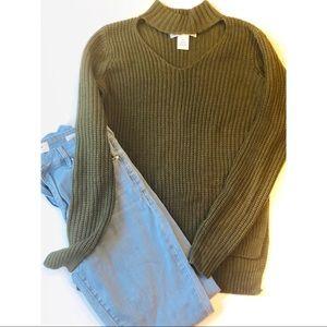 Planet Gold Army Green Choker Sweater Hi Low XS